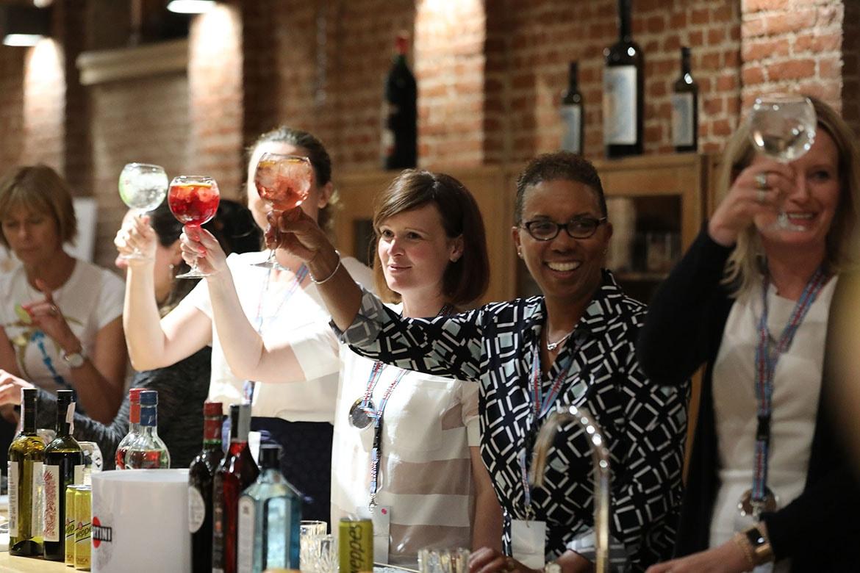ladies raising their glass